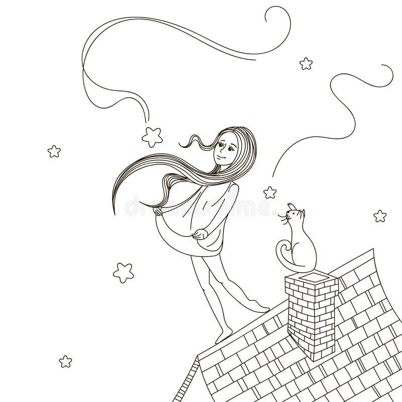 Mädchen auf dem Dach vektor abbildung