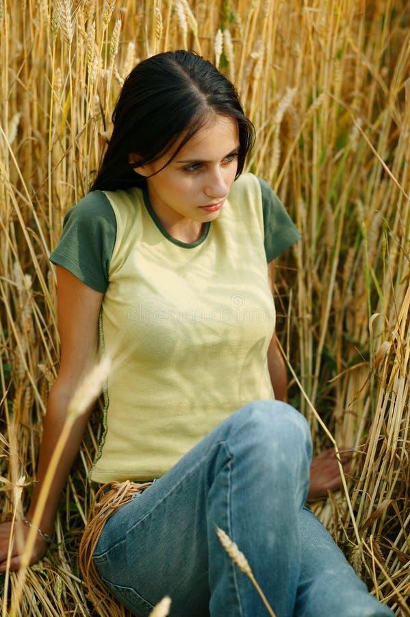 Mädchen auf dem Maisgebiet lizenzfreie stockbilder