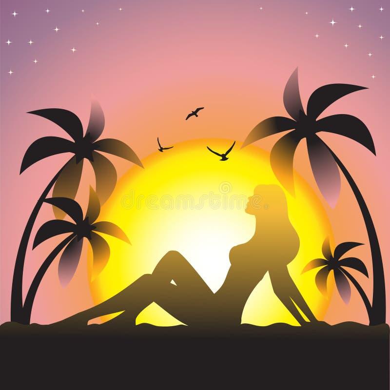 Mädchen auf Sonnenuntergang stockfotos