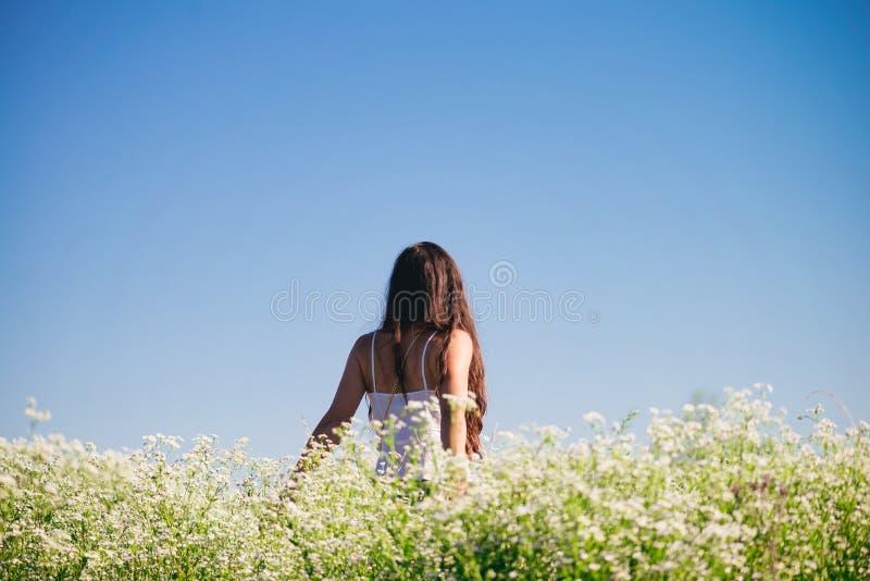 Mädchen auf einem Gebiet von weißen Blumen lizenzfreie stockbilder