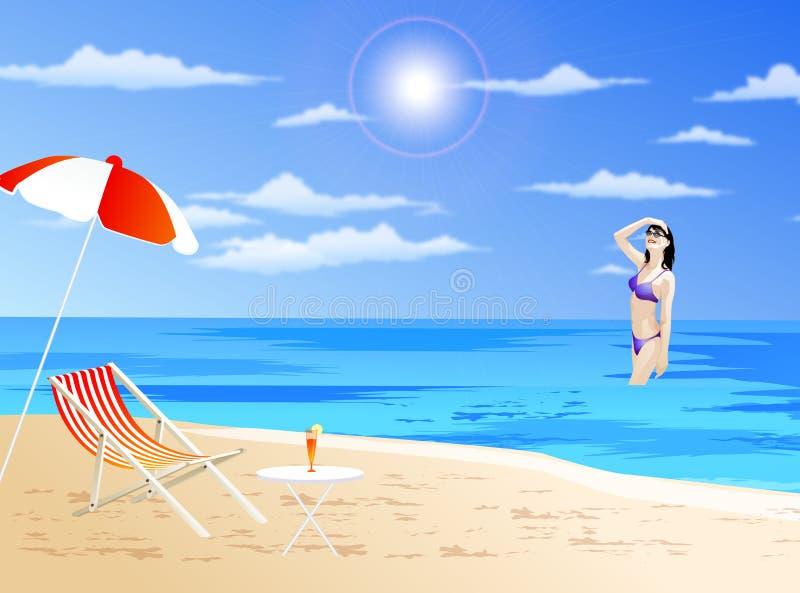 Mädchen auf einem Strand lizenzfreie abbildung