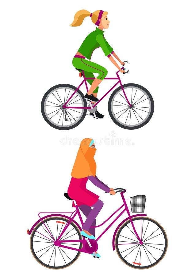 Mädchen auf Fahrrad auf weißem Hintergrund stockfoto
