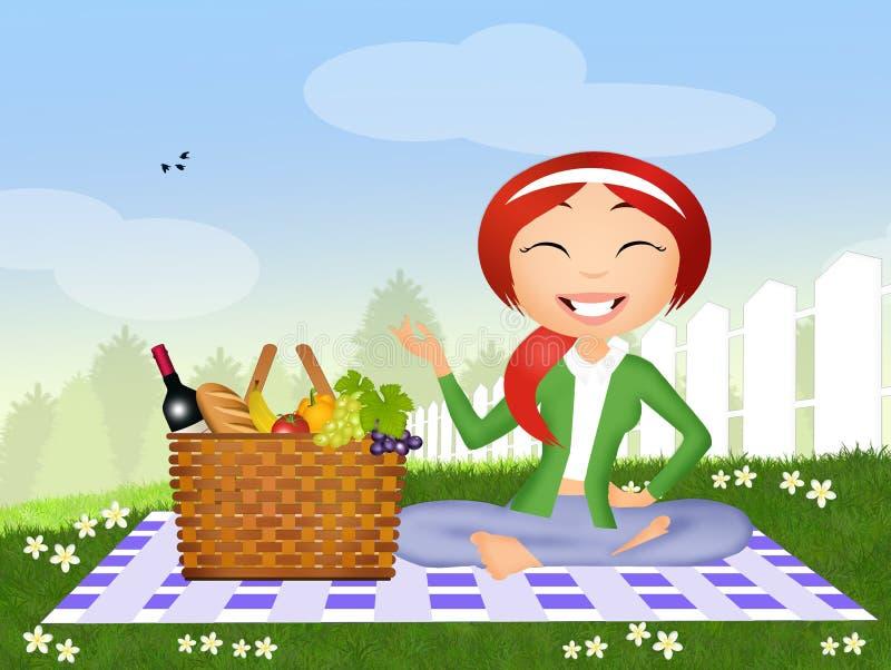 Mädchen auf Picknick stock abbildung