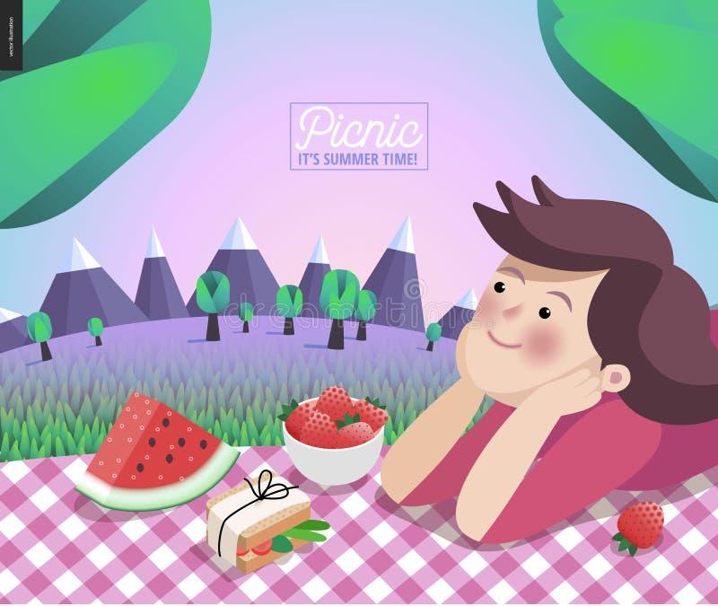 Mädchen auf Picknick lizenzfreie abbildung