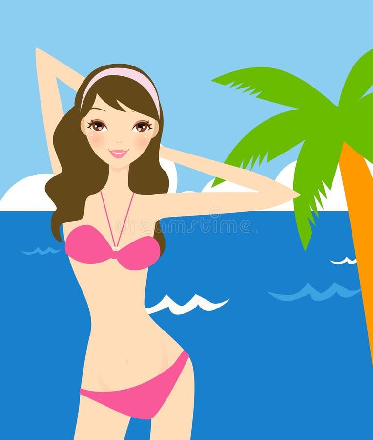 Mädchen auf Strand stock abbildung