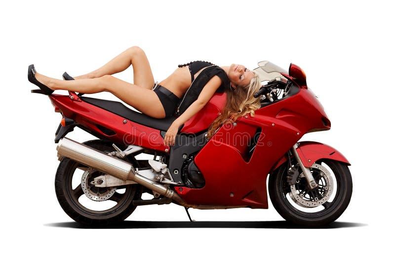 Mädchen auf superbike lizenzfreie stockfotografie