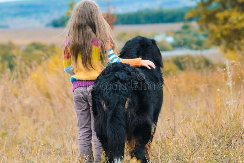 Mädchen auf Weg mit ihrem Hundefreund auf Herbsthügeln stockfotografie