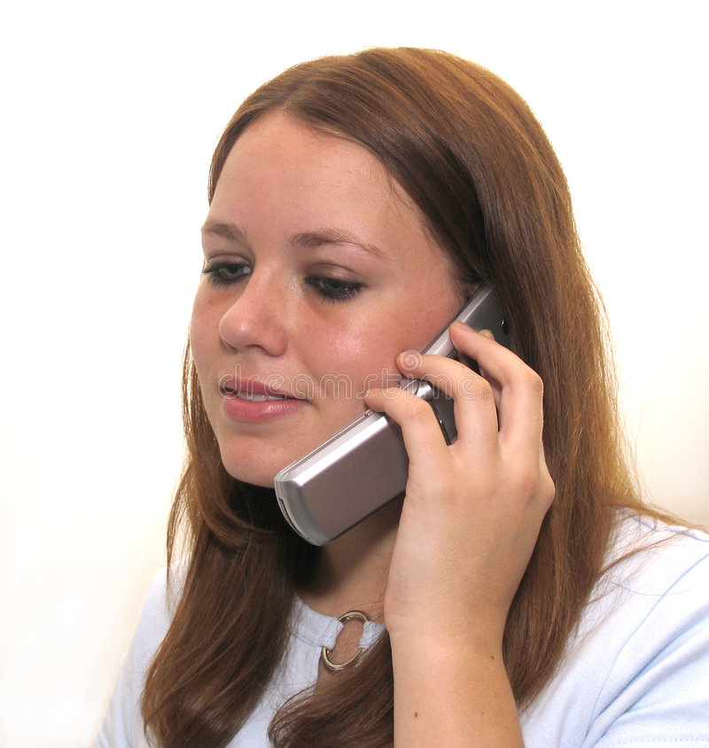 Download Mädchen auf Zelle stockbild. Bild von telefone, beweglich - 31483