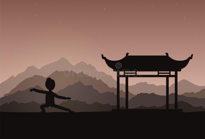 Mädchen Ausführungsqigong oder taijiquan Übungen am Abend vektor abbildung