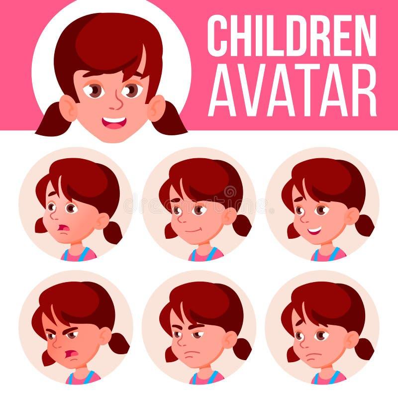 Mädchen-Avatara-gesetzter Kindervektor kindergarten Stellen Sie Gefühle gegenüber Porträt, Benutzer, Kind Jüngeres, Vorschule, Kl stock abbildung