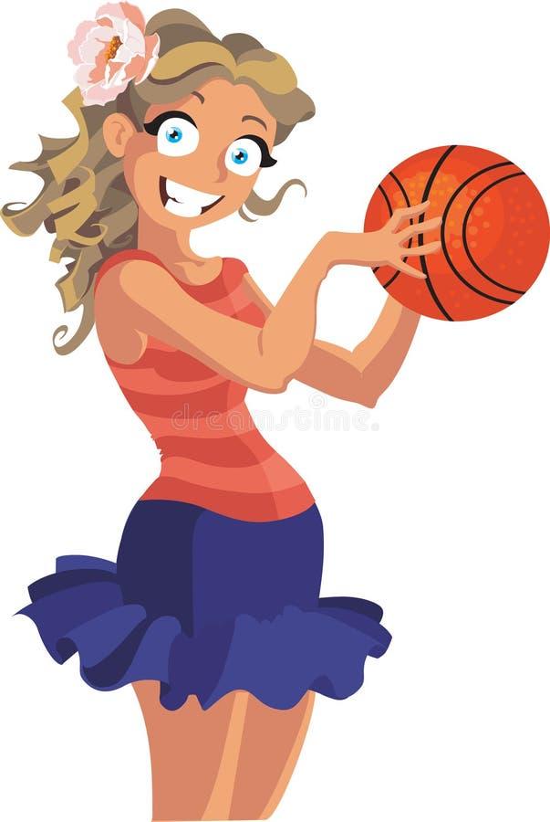 Mädchen Basketballspieler stock abbildung