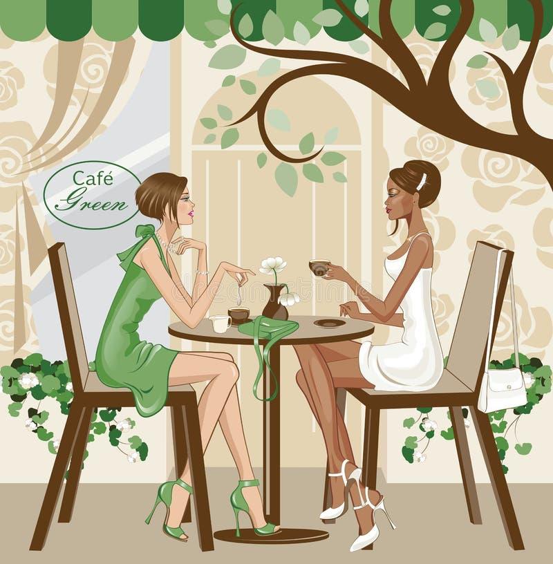 Mädchen am Café stock abbildung