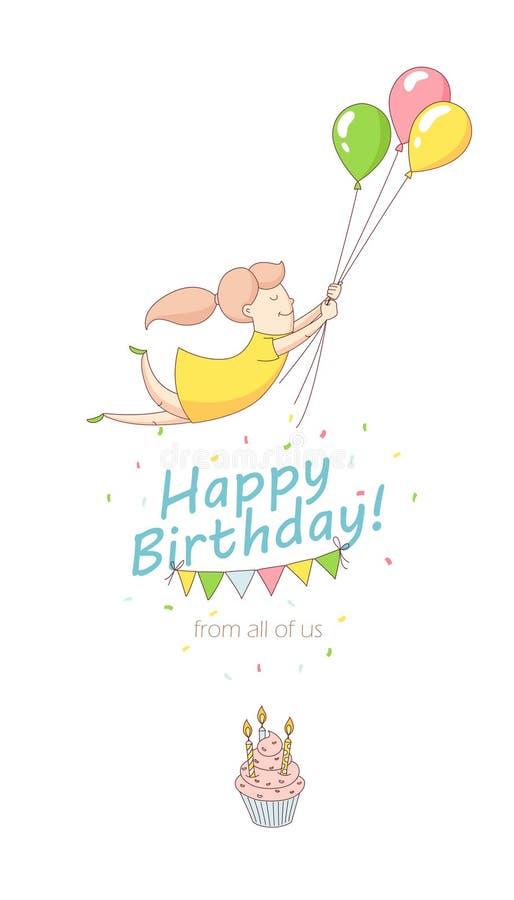 Mädchen-Charakterfliegen der glücklichen Geburtstagsfeiergrußkarten-Einladung lustiges mit Ballonen Linie flache Designkind-` s A stock abbildung