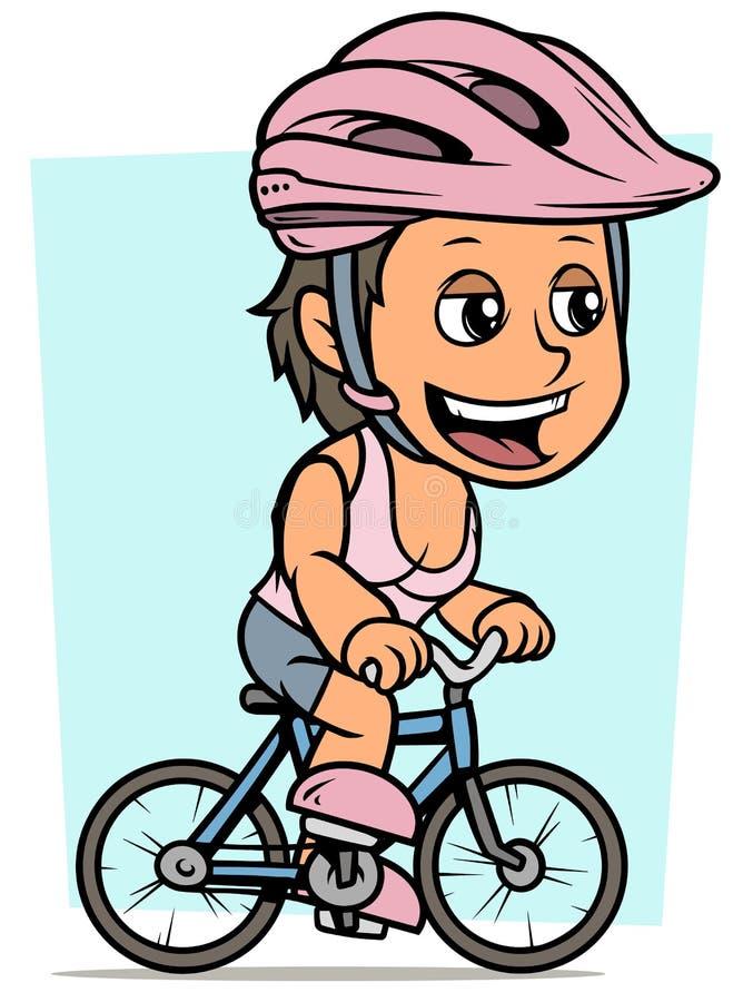 Mädchen-Charakterreiten der Karikatur brunette auf Fahrrad vektor abbildung