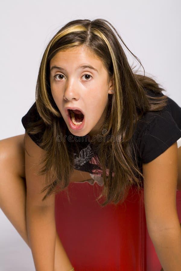 Mädchen, das überrascht schaut lizenzfreie stockfotografie