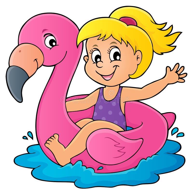 Mädchen, das auf aufblasbaren Flamingo 1 schwimmt stock abbildung