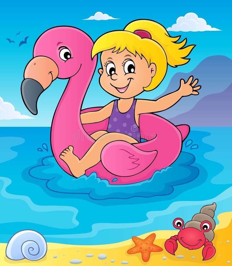 Mädchen, das auf aufblasbaren Flamingo 4 schwimmt vektor abbildung