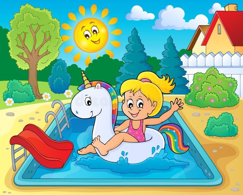 Mädchen, das auf aufblasbares Einhorn 3 schwimmt vektor abbildung