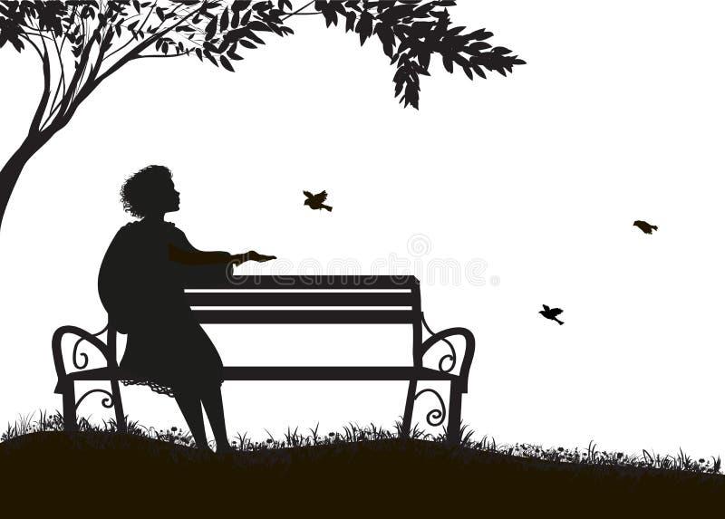 Mädchen, das auf der Bank unter den Baum- und Zufuhrspatzen, Schatten, Schattenbild auf weißem Hintergrund sitzt lizenzfreie abbildung