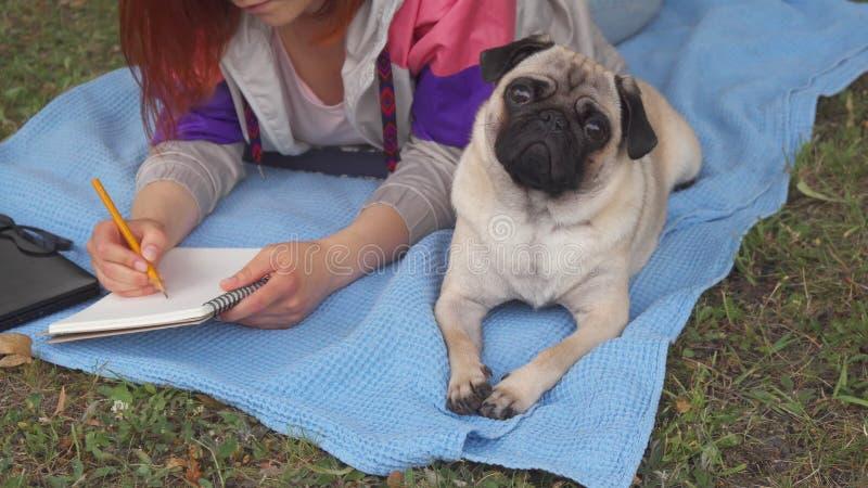 Mädchen, das auf einen Rasen und ein Schreiben, ihr Pug dazu legt legt stockbild