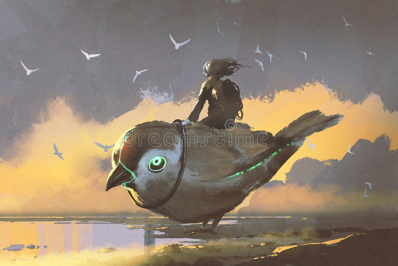 Mädchen, das auf riesigem futuristischem Vogel sitzt stock abbildung