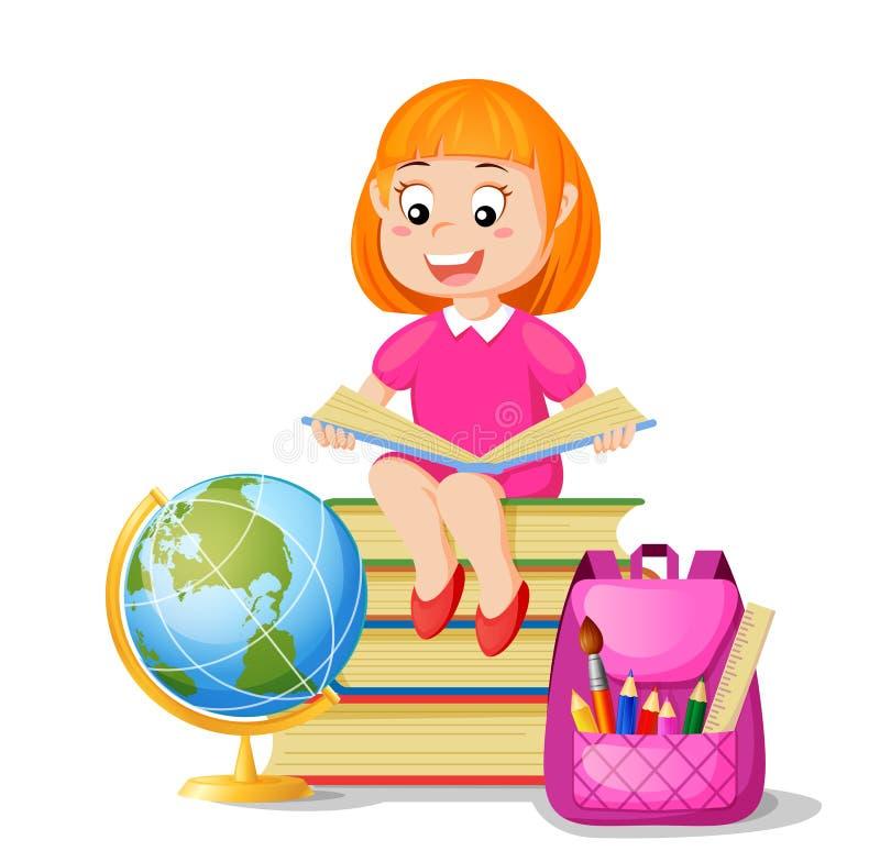 Mädchen, das auf Stapelbüchern und Ablesenbuch sitzt Ich liebe gelesen Zur?ck zu Schule Schulbildung und Wissen vektor abbildung