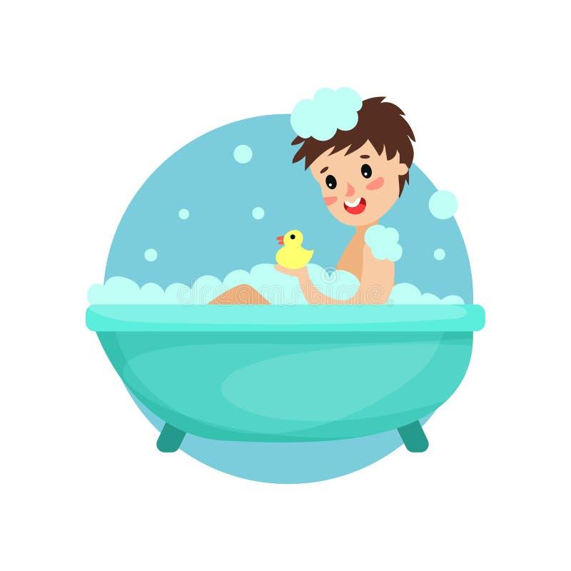 Mädchen, das Bad im Schaum und in der Seife, Frau sich interessiert für, gesunde Lebensstilvektor Illustration nimmt vektor abbildung