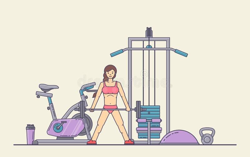 Mädchen, das crossfit Übungen in der Turnhalle durchführt Junge Frau, die Training tut Eignung, bodybuildende Konzeptfahne lizenzfreie abbildung