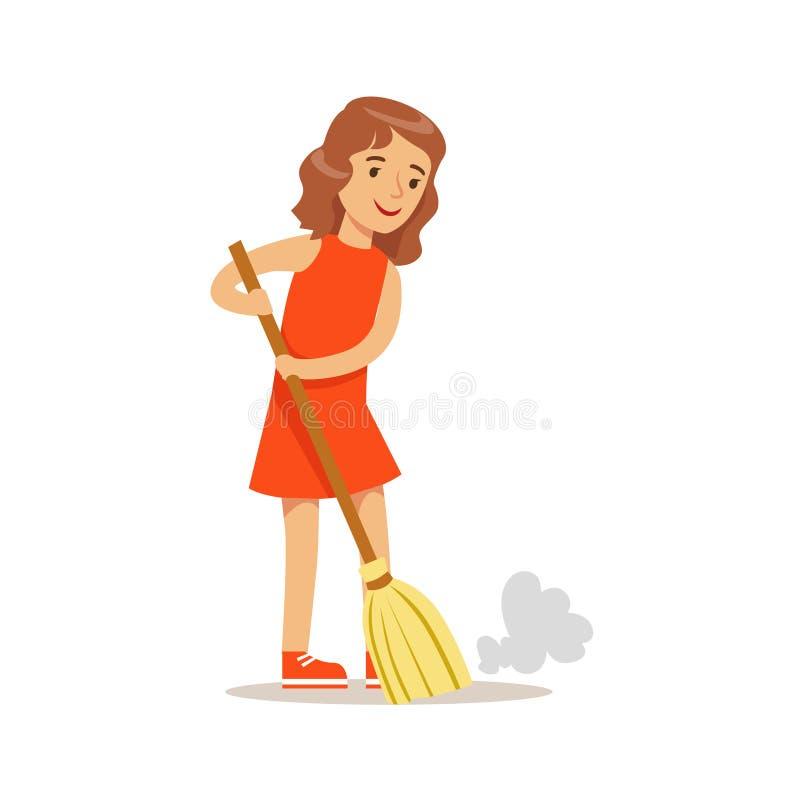 Mädchen, das den Boden mit dem Besen-lächelnden Karikatur-Kindercharakter hilft bei der Haushaltung und tut Haus-Reinigung fegt lizenzfreie abbildung