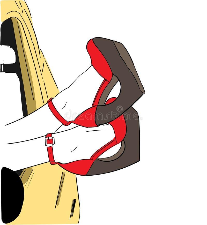 Mädchen, das in den Saalbeinen und in den roten Schuhen selbst liegt stockfoto