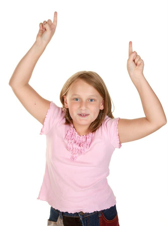 Mädchen, das den Siegertanz tut lizenzfreie stockbilder