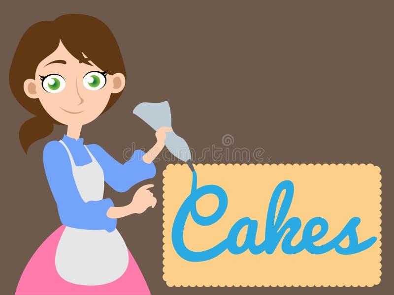 Mädchen, das den Wortkuchen schreibt lizenzfreie abbildung