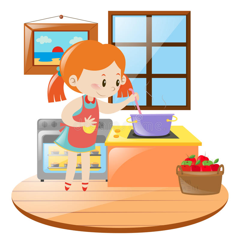 Mädchen, das in der Küche kocht lizenzfreie abbildung