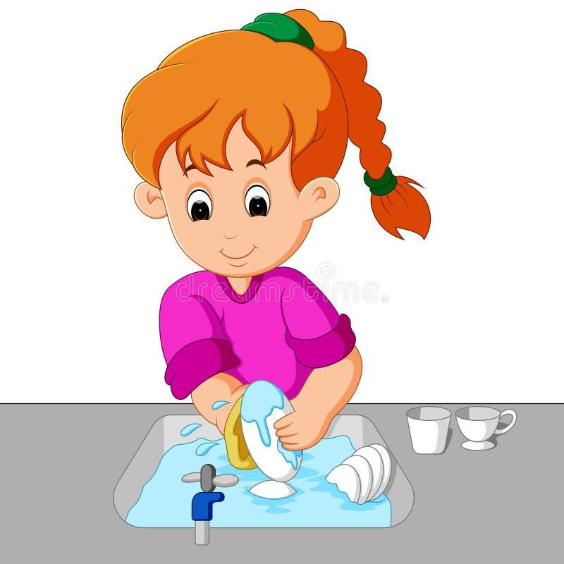 Mädchen, das die Teller wäscht vektor abbildung