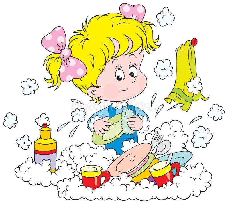 Mädchen, das die Teller wäscht stock abbildung