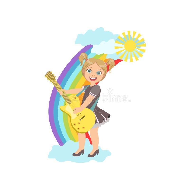 Mädchen, das E-Gitarre mit Regenbogen-und Wolken-Dekoration spielt vektor abbildung