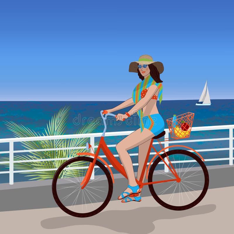 Mädchen, das ein Fahrrad an einem heißen Sommertag reitet Im Hintergrund sind Palmen, das Meer und ein Segelboot Sommer, Ferien lizenzfreie abbildung