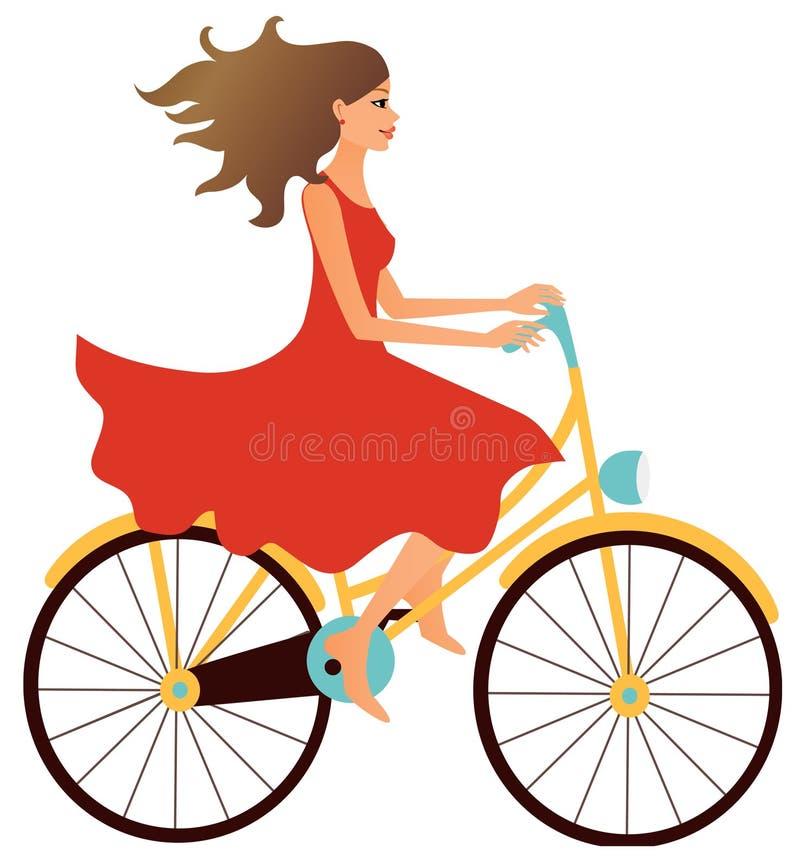 Mädchen, das ein Fahrrad reitet stock abbildung