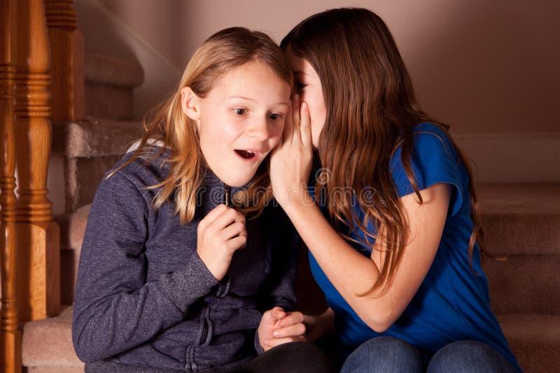 Mädchen, das ein Geheimnis flüstert lizenzfreie stockfotos