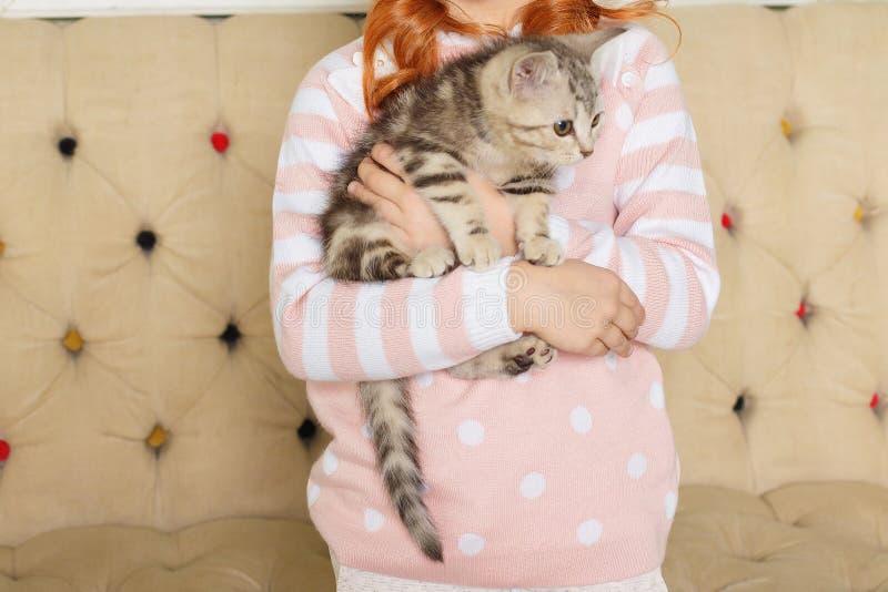 Mädchen, das ein gestreiftes Kätzchen hält stockfotografie
