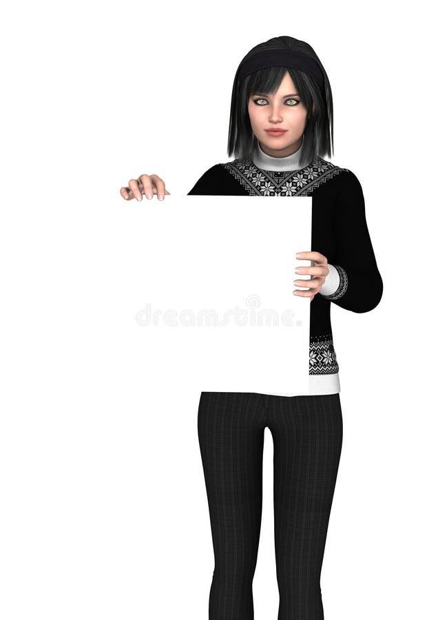 Mädchen, das ein leeres Schild zeigt stockbild