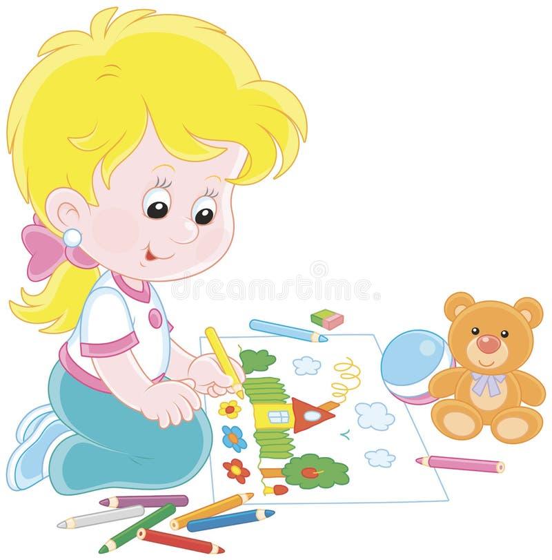 Mädchen, das ein lustiges Bild zeichnet vektor abbildung