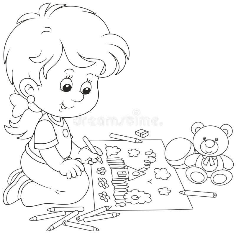 Mädchen, das ein lustiges Bild zeichnet lizenzfreie abbildung