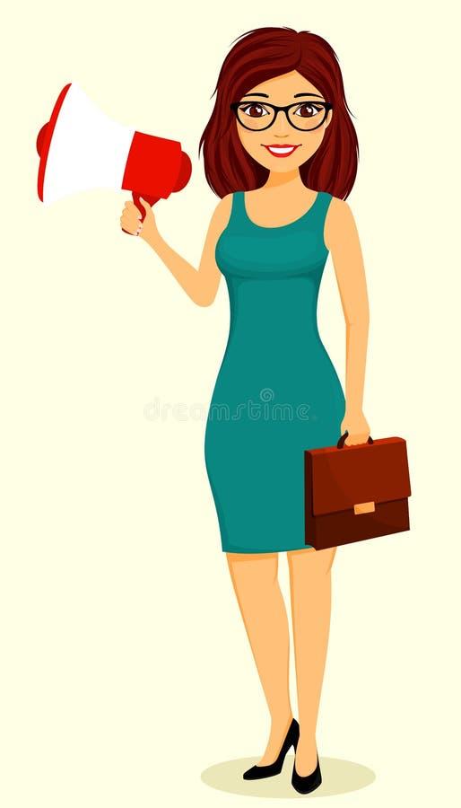 Mädchen, das ein Megaphon in seiner Hand hält Drei Leute hinter ihren R?ckseiten ?bersetzen, team Arbeit innerhalb der Firma Gesc stockbilder