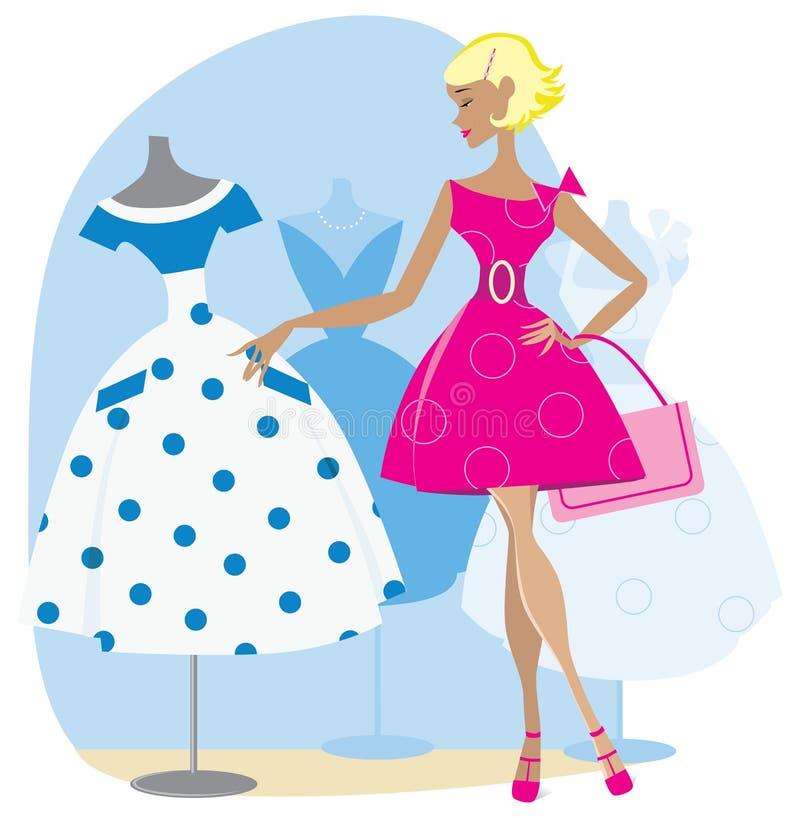 Mädchen, das ein Retro- Kleid auswählt stock abbildung