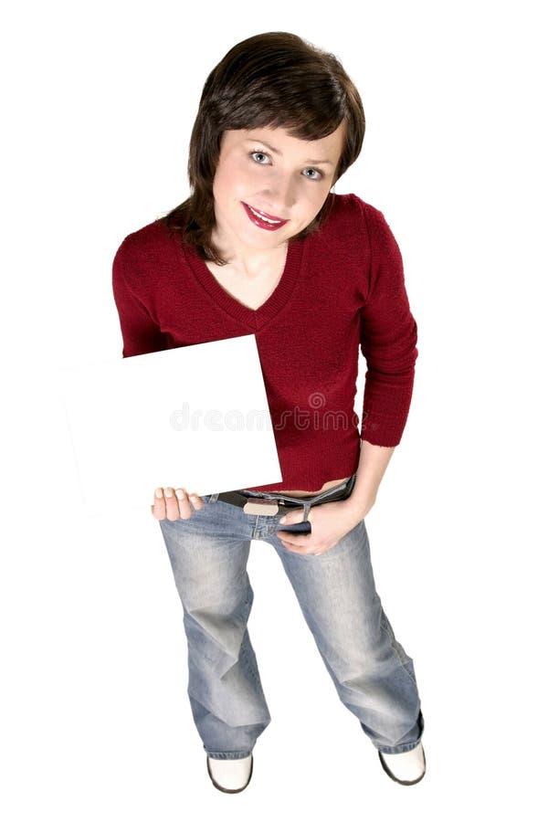 Mädchen, das eine Karte anhält stockfotografie