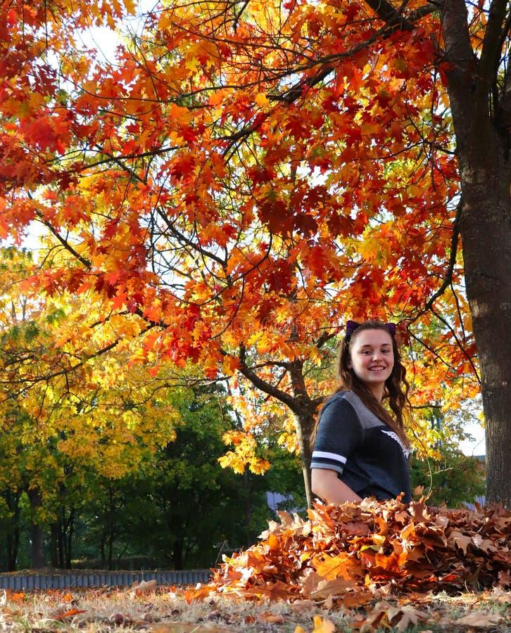 Mädchen, das in einem Stapel von Blättern im Herbst in Deutschland sitzt stockfotos
