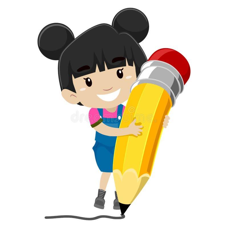 Mädchen, das einen Bleistift anhält lizenzfreie abbildung