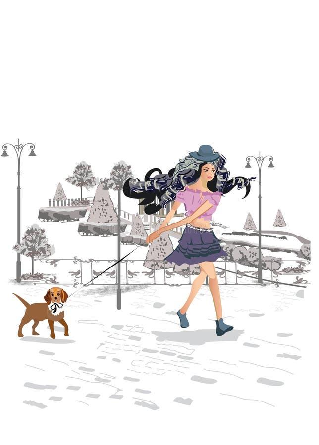 Mädchen, das einen Weg im Park mit ihrem Hund hat lizenzfreie abbildung
