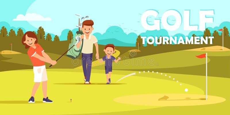 Mädchen, das für einen anderen Schlag im Golfspiel sich vorbereitet lizenzfreie abbildung